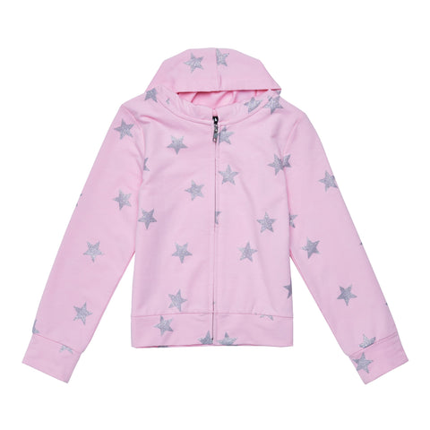 Star Zip Up Cardigan - Prism Pink