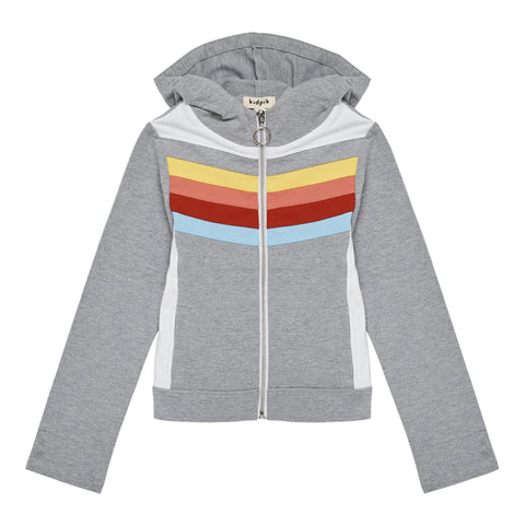 Chevron Fleece Cardigan - Medium Heather Grey