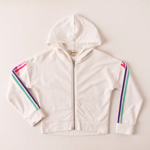 Prism Stripe Fleece Cardigan - White