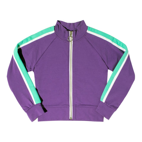 Color Block Fleece Cardigan - Deep Lavender