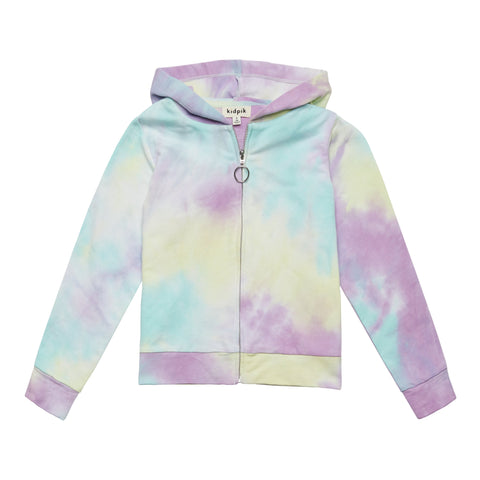 Tie Dye Zip Up Cardigan - Multi