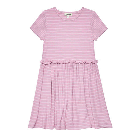 Striped Drop Waist Dress - Pink Nectar