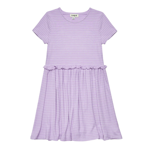 Striped Drop Waist Dress - Sheer Lilac