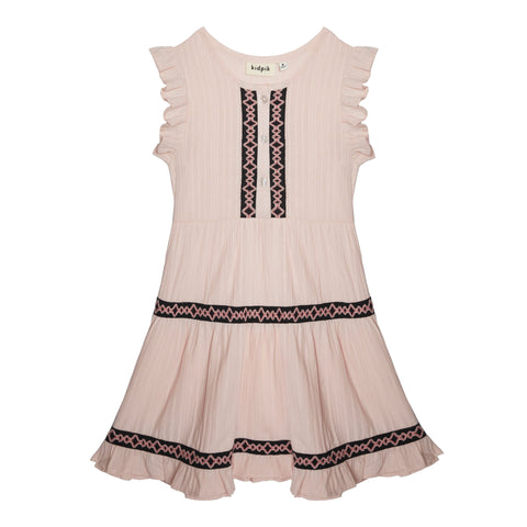 Geo Trim Tiered Dress - Cherry Blossom