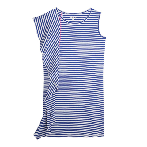 Stripe Side Ruffle Tank Dress - Turkish Sea
