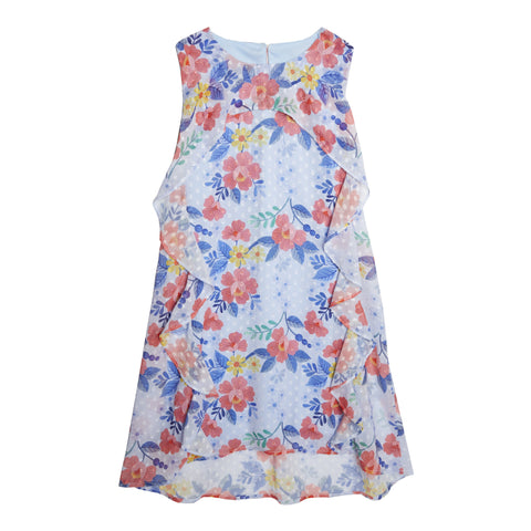 Floral A-Line Ruffle Dress - Powder Blue