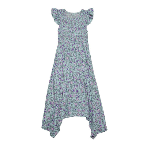 Floral Smocked Sharkbite Dress - Blue Tint