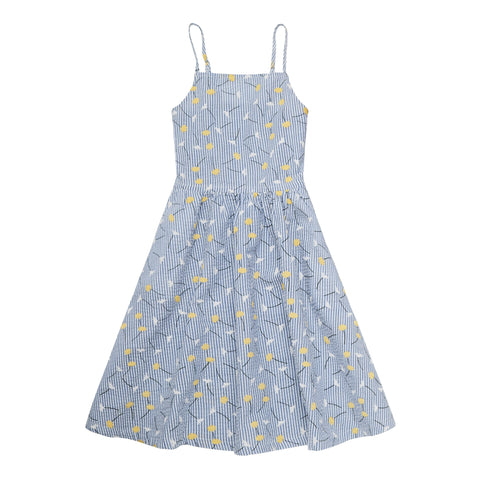 Daisy Stripe Sundress - Azure Blue