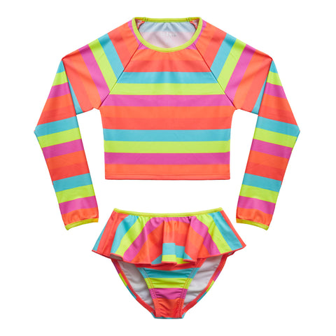 Multi Stripe Rash Guard Swimsuit - Multi