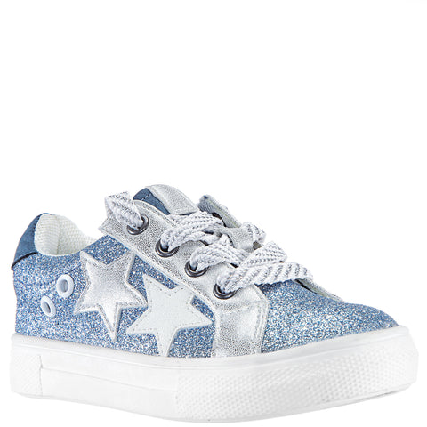 Glitter Starry Sneaker - Powder Blue