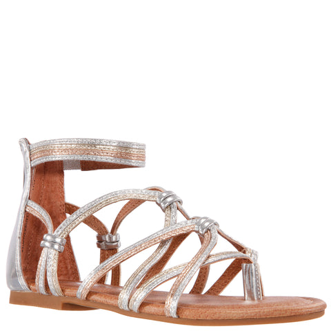 Tied Metallic Gladiator Sandal - Multi
