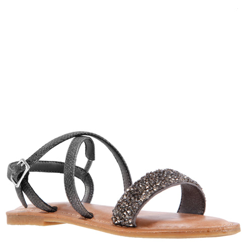 Pebbled Sandal - Pewter