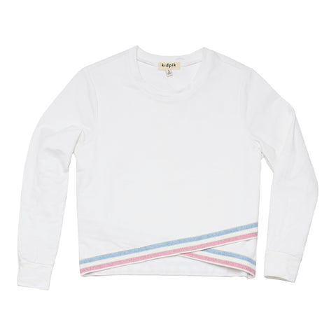 Cross Over Fleece Top - White