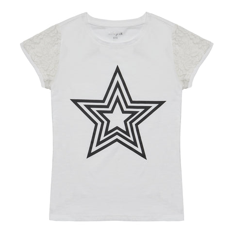 Lace Sleeve Star Tee - White