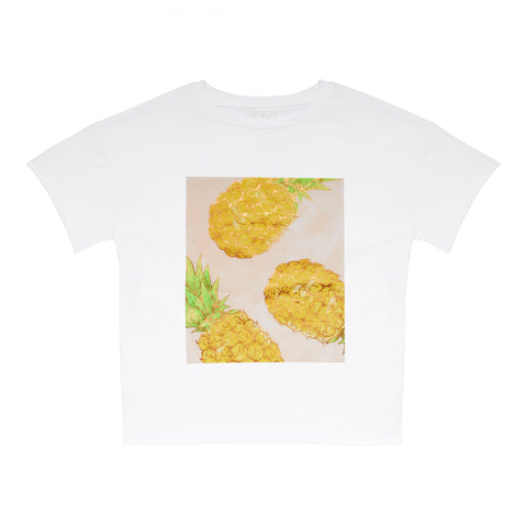 Pineapple Square Oversized Tee - White