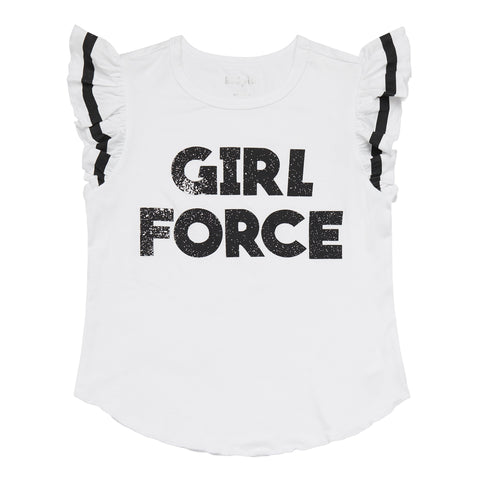 Girl Force Ruffle Tee - White