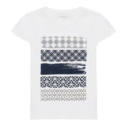 Patterned Stripe Tee - White