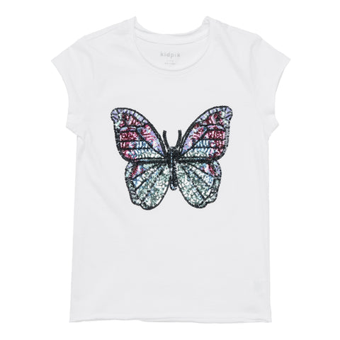 Sequin Butterfly Tee - White