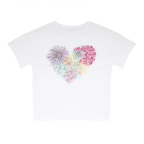 Floral Heart Tee - White