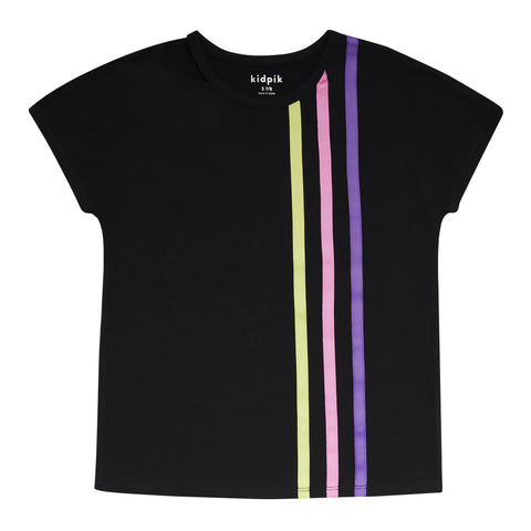 Racing Stripe Tee - Black