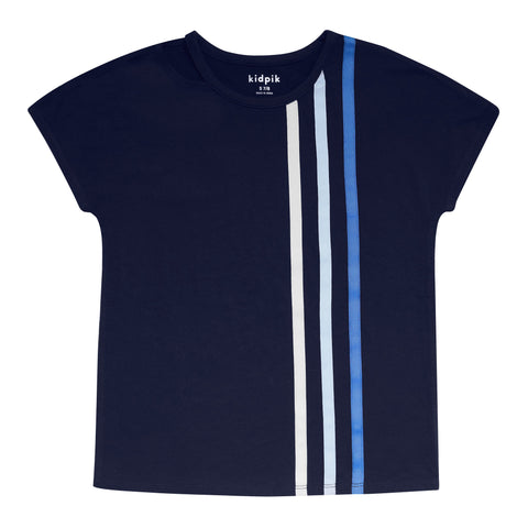 Racing Stripe Tee - Kidpik Navy