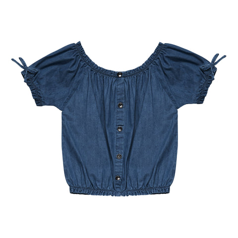 Denim Peasant Top - Grenadines Wash