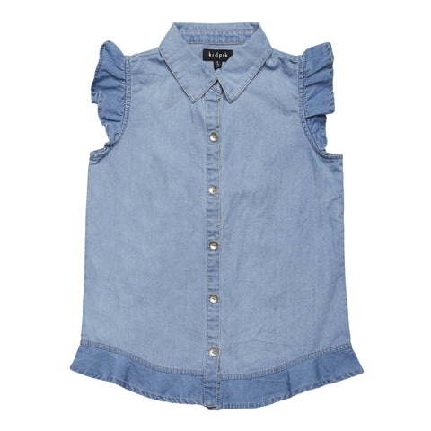 Peplum Denim Top - Saint Kitts Wash