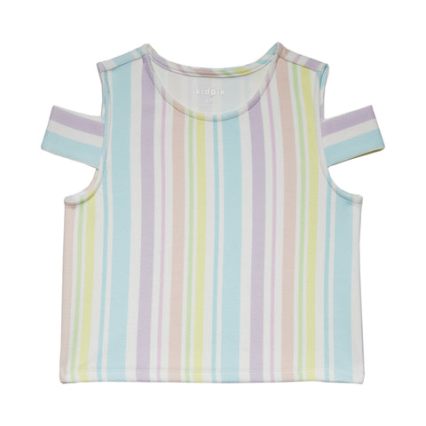 Sorbet Stripe Cold Shoulder Top - Multi