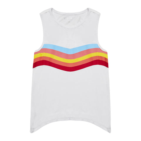 Chevron Graphic Swing Top - White