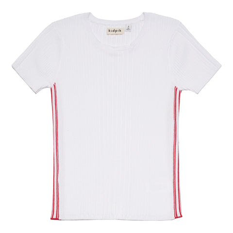 Side Stripe Ribbed Sweater - White