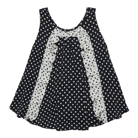Dot Ruffle Tank - Black