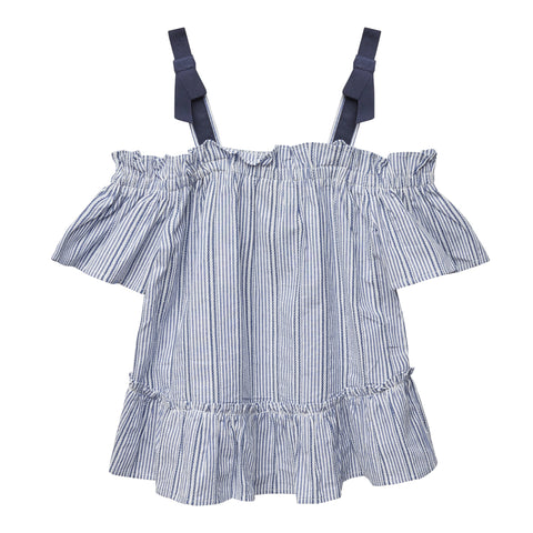 Stripe Tie Shoulder Top - Kidpik Navy