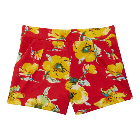 Florating Floral Short - Poppy Red