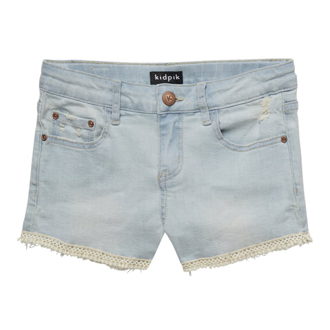Crochet Trim Denim Short - Sand Wash