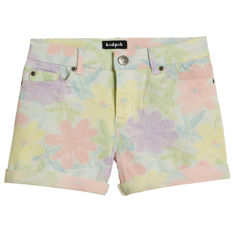 Washed Floral 5 Pocket Short - Aqua Splash