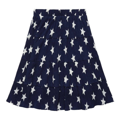 Star Pleated Skirt - Kidpik Navy