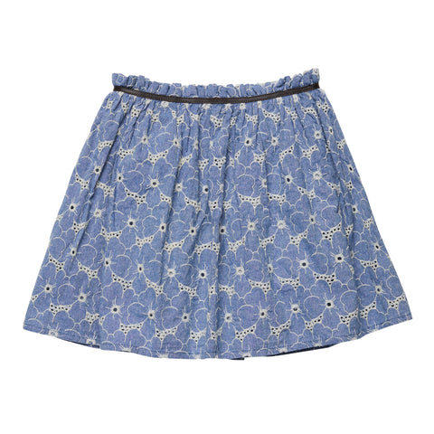 Flower Chambray Skirt - Bluebell Wash