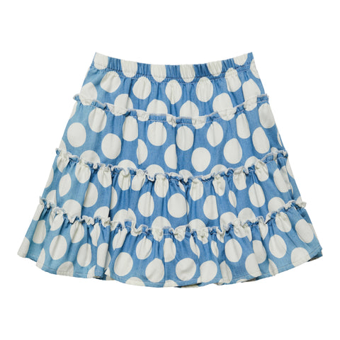 Dot Tiered Skirt - Provence Blue