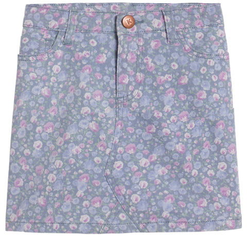 Ditsy Floral 5 Pocket Skirt - Plum Purple