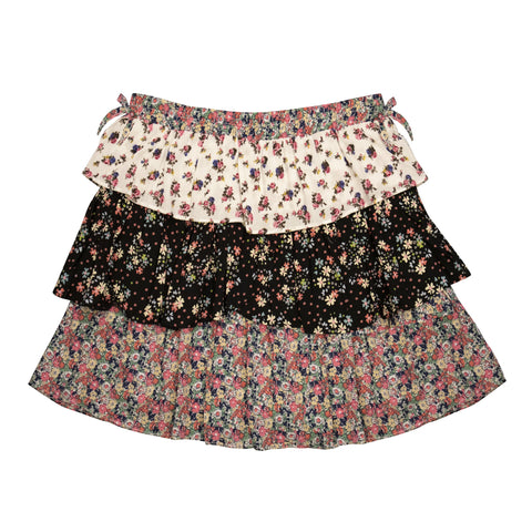 Mixed Floral Ruffle Skirt - Multi