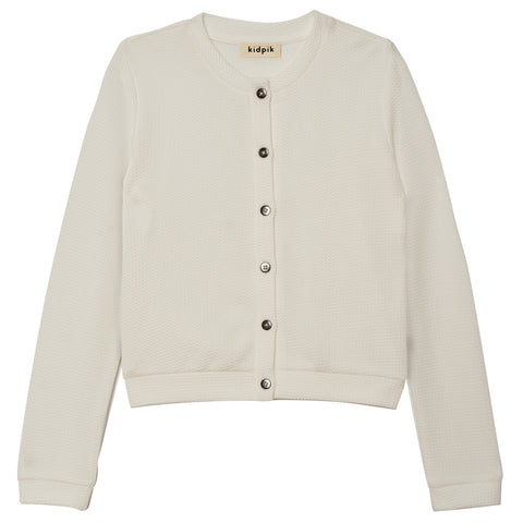 Textured Cardi-All Color - White