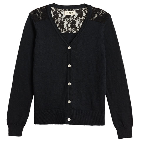 Lace Cardigan Sweater - Black