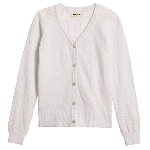 Lace Cardigan Sweater - White
