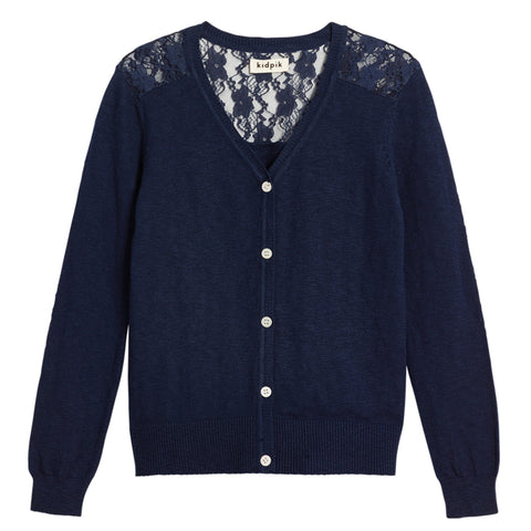 Lace Cardigan Sweater - Kidpik Navy