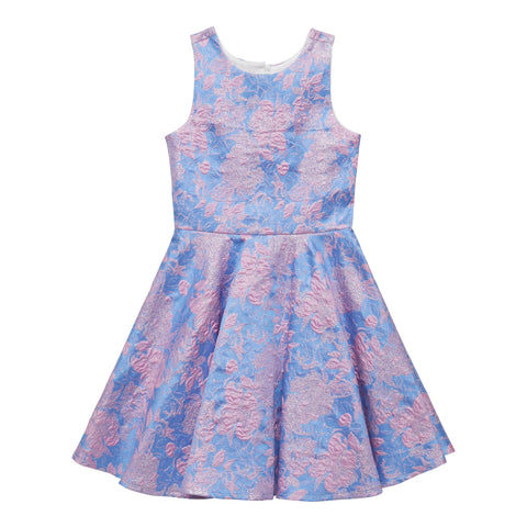 Rose Brocade Dress - Provence Blue