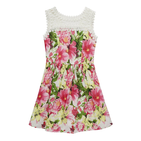 Garden Floral Dress - Fuchsia Purple
