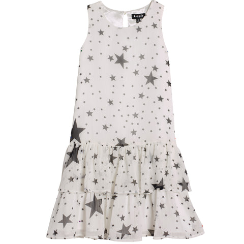 Starry Drop Waist Tiered Dress - Kidpik Cream