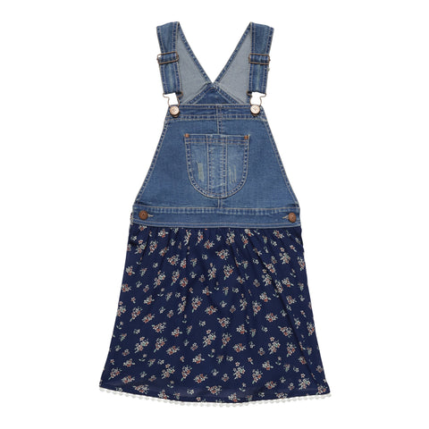 Denim And Floral Skirtall - Kidpik Navy