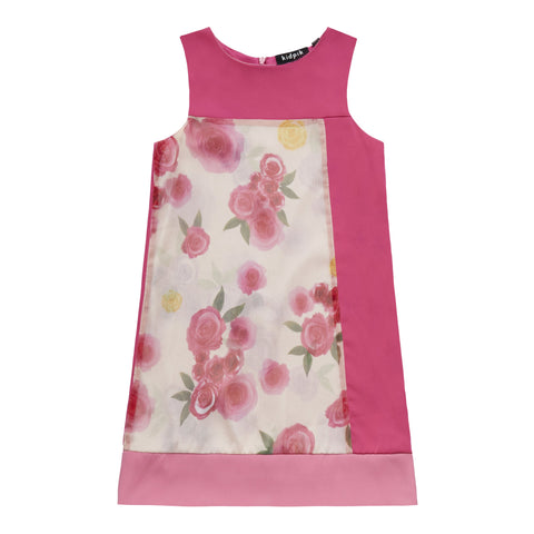 Color Block Floral A-Line Dress - Camellia Rose