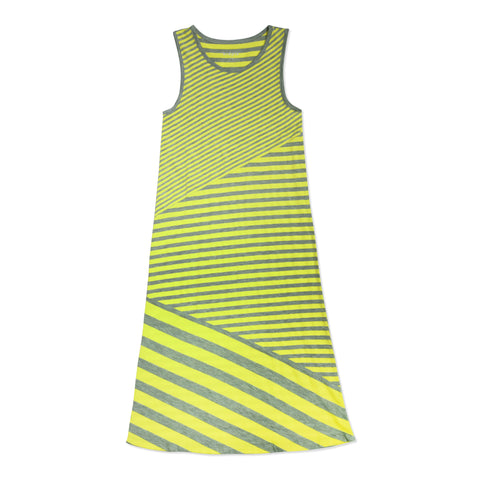 Stripe Asymetrical Dress - Safety Yellow